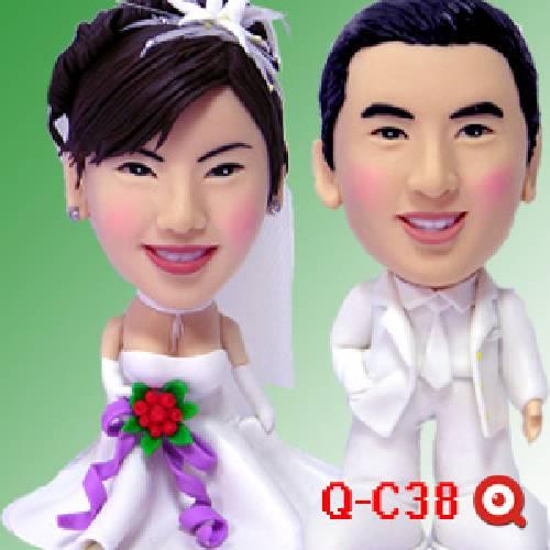 公仔-娃娃製作 浪漫結婚季節 Q-C38-潔白結婚公仔